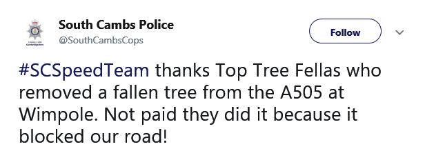 Praise from South Cambridgeshire Police